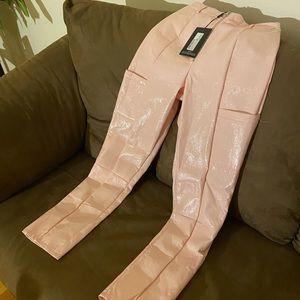 Pink Vinyl straight lip zip Pants